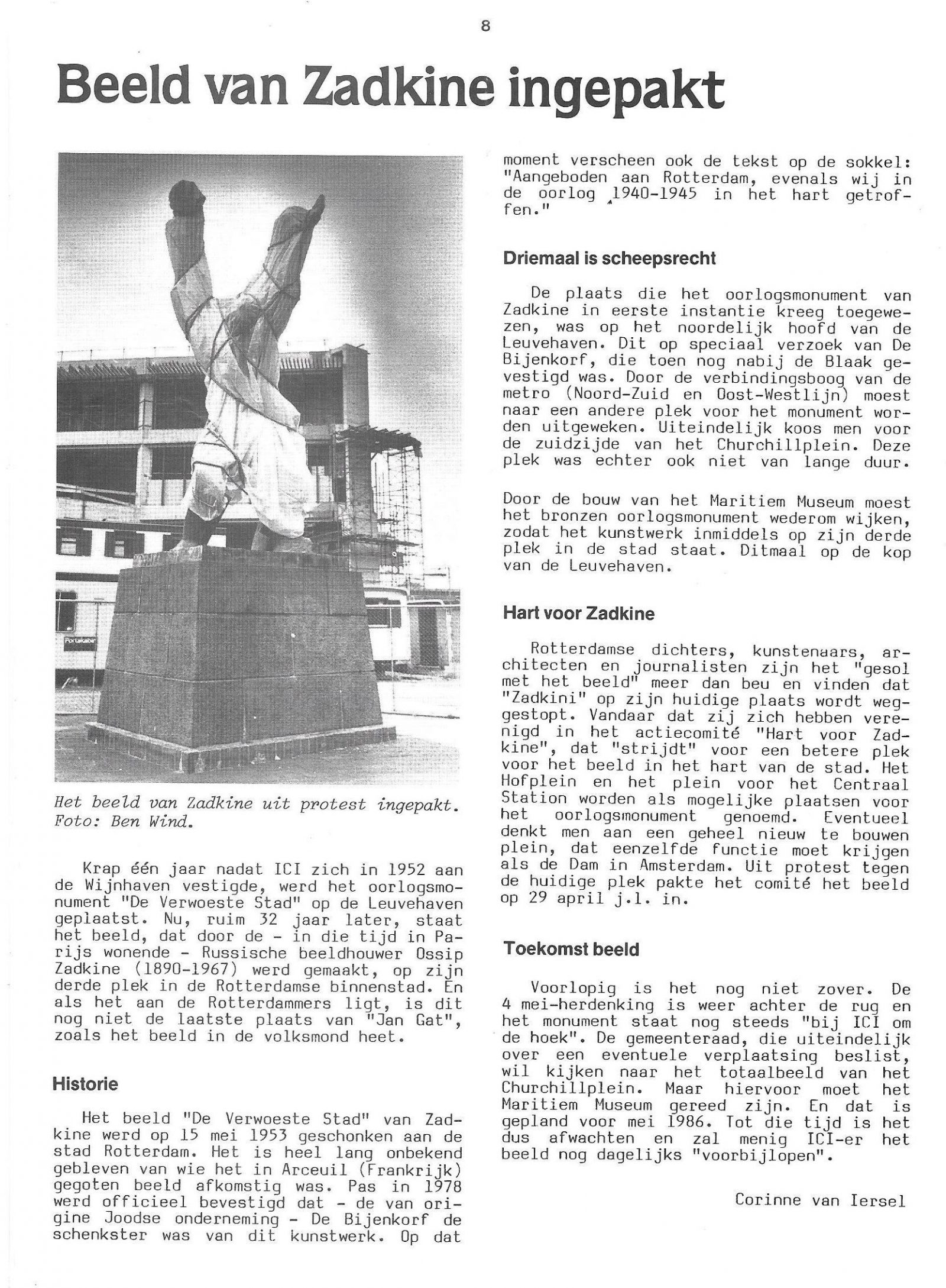 Spreekbuis sep 1985 Beeld van Zadkine ingepakt